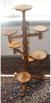 Brauner gedrechselter Vintage Holz-Pflanzenständer für