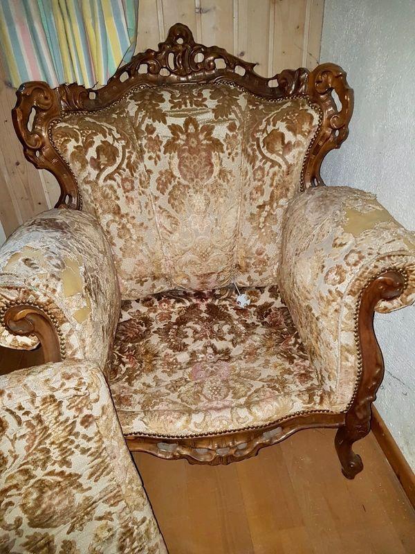 2x Biedermeier Sessel Antik Möbel
