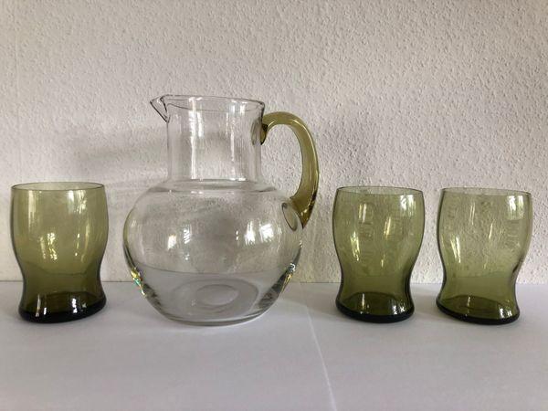 Glaskrug mit 3 Gläser