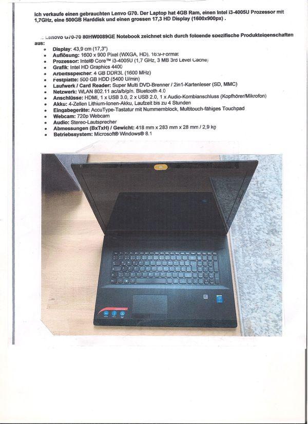 Sehr gut erhaltener Lenovo G70