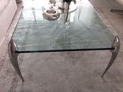 Designer Glastisch mit Chromfüssen