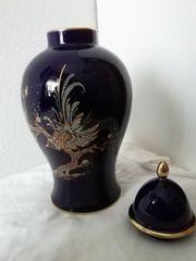 Vase mit Deckel - Echt Kobalt