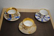3 antike Biedermeier-Tassen mit Untertassen