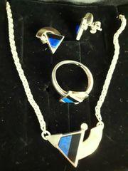 Schmuckset 925er Silber teilvergoldet Onyx