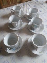 6 Mocca Tassen mit Unterteller