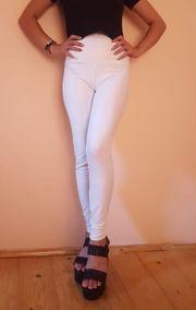 Sexy Wetlook Leggings Weiß Gr