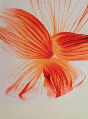 Deckenleuchte stoffbespannt Designerleuchte orange-weiß
