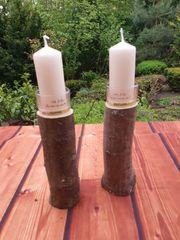 Kerzenständer aus Holz mit Glasaufsatz