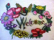 Welcome mit Blumen Türschild