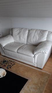 Ledersofa weiß 2-Sitzer