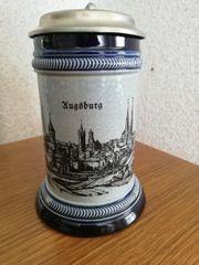 Bierkrug Augsburg mit Zinndeckel