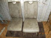 2 Metall-Stühle Lederimitation Polyester