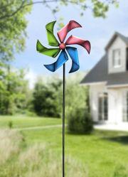 Windrad bunt Eisen Windspiel Gartendeko