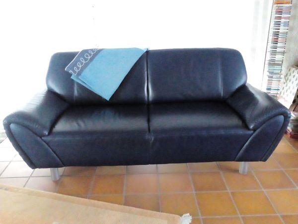 Ledersofa Couch 3-Sitzer blau