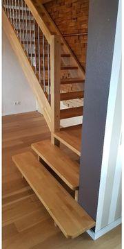 Holz Treppe Massiv Eiche Gerade