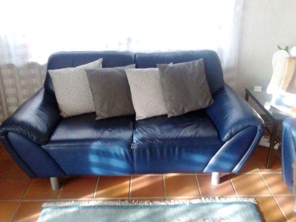 Ledersofa 2 Sitzer blau