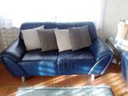Ledersofa Couch 2-Sitzer blau