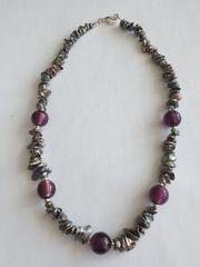 Keshi-Perlenkette mit Glasperlen Murano-Art