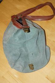 Damenhandtasche -Beutel - Wild Leder - Petrol-Braun