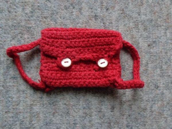 Spielzeug Puppenrucksack Handarbeit rot 9
