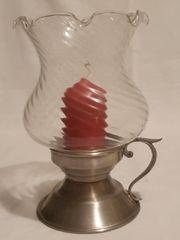 Kerzenhalter aus Zinn mit Glas