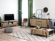 TV-Möbel heller Holzfarbton schwarz BLACKPOOL neu