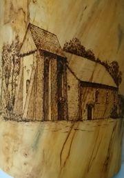 Holzurnen Brandmalerei Handarbeit