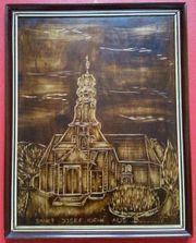 Holzbild geschnitzt Kirche in Bauerwitz