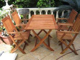 Gartenmöbel - Sitzgarnitur Eukalyptus 5 tlg Gartenmöbel