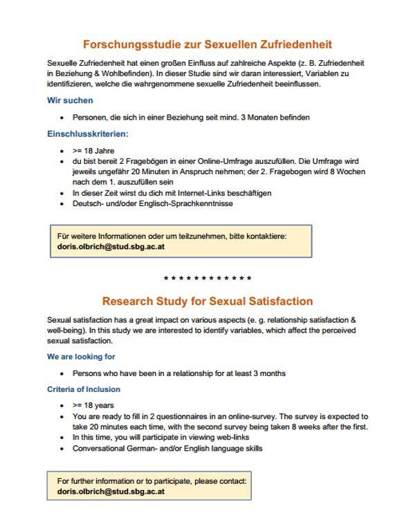 Online-Studie zu sexueller Zufriedenheit Proband