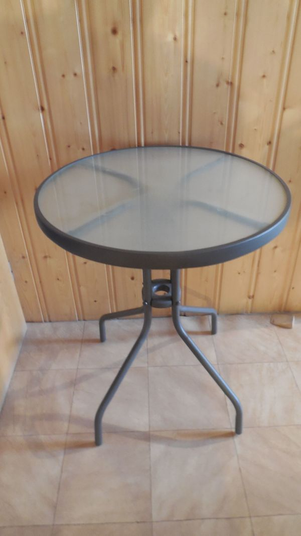Gartentisch - Rund Metall Glas 60