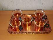Tee-Service aus Kupfer Glas 5