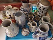 Bayrisch blau Sammlung Steingut Krüge