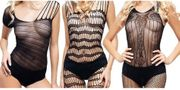 3-er Set Bodystocking schwarz