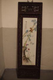 China Porzellan Gemälde Blume Vogel