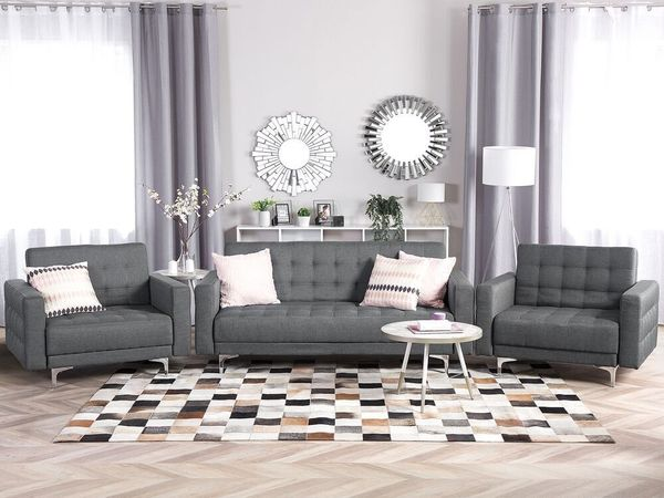 Sofa Set Polsterbezug hellgrau ABERDEEN