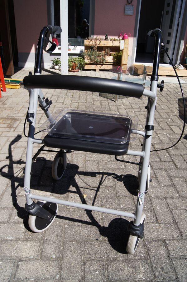 Rollator mit Essen-Tablett und Stockhalter
