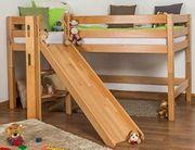 Masivholz Kinderhochbett mit Rutsche