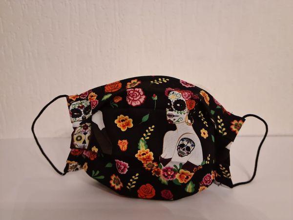 Gesichtsmaske - Behelfsmaske - Halloween - Totenkopffrau