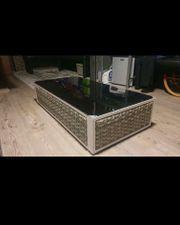 Lounge Tisch Rattan weiß grau