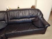 Schöne schwarze Echt-Leder Couch Garnitur