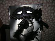 Damen-Fasching-Maske schwarz mit passendem Kopfschmuck