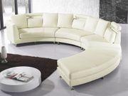 Sofa Leder creme rund ROTUNDE
