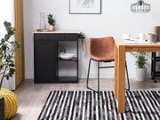 Teppich Leder schwarz grau 140