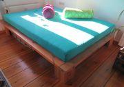 Futon-Holzbett mit neuwertiger Matratze