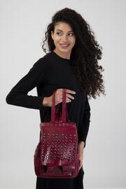 Damen Nieten Tasche Rucksack Backpack