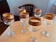 6 Weingläser mit Goldrand