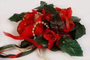 Kerzendekoration Weihnachts-Tisch-Kerzenschmuck rot Weihnachtstern Perlenkette