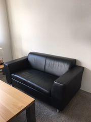 Couch Sofa Leder schwarz Zweisitzer