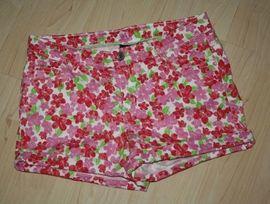 Kurze Mädchen Hose Kinder Bermuda Shorts kurz Hotpants Blumen Flower Sommerhose rosa/pink Gr. 152